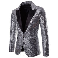 NEW Men's Sequins Clubs Wedding Party Tuxedo Dinner Formal Long Sleeve Single Button Suit Jacket Coat