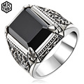 High Quality vintage Men's Ring Black Shiny natural Agate biker ring  sterling silver Men's Jewelry  Charmimg Ring Men aneis