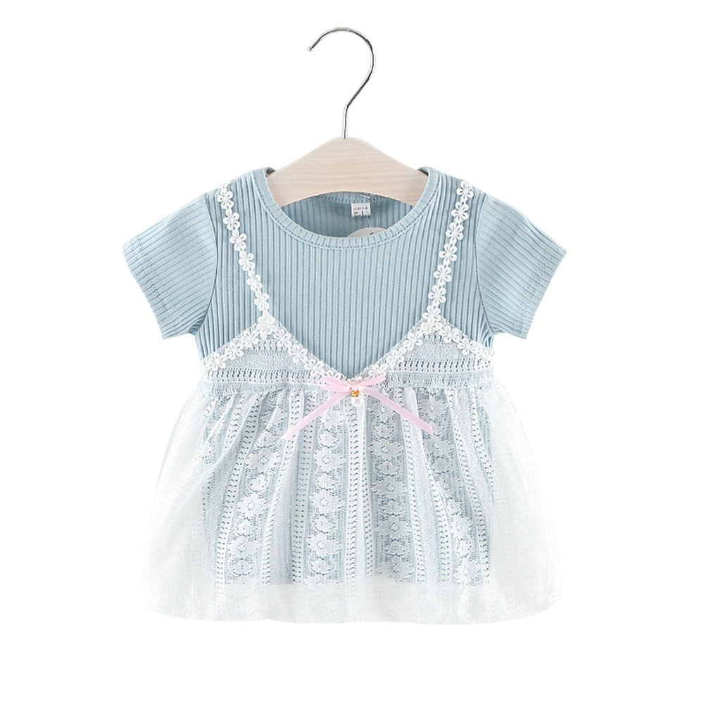 Милое Платье, летнее платье для девочек, платье принцессы для шоппинга, элегантное светло-голубое милое школьное платье на лямках - Цвет: blue