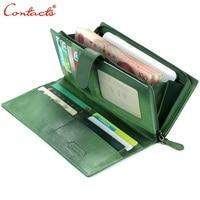 Contact's Genuine Leather Brand Wallet Handmade Sheep Skin Knitting Women Wallet Purse purse carteira portefeuille green femme
