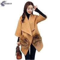 TNLNZHYN Women Clothing Warm Woolen Coat Winter New High End Fashion Big Size 7 Points Sleeves