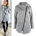 Women Winter Warm Casual Long Inclined Zipper Hooded Jacket Coat Sweatshirt Outwear Coat 004