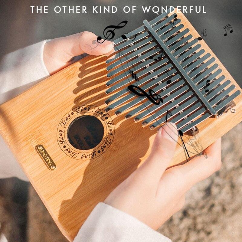 17 tasti Pollice pianoforte Kalimba mbira Robusto Squisita Bambù Solido legno Grezzo di colore Musica Africana strumenti musicali Musicista Studente