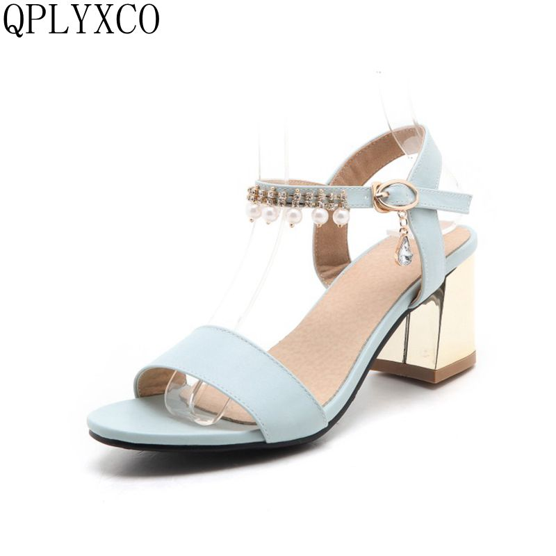 QPLYXCO Plus fashion Summer shoes Style Sandals  Big small Size 32-46 shoes woman High Heels wedding Party women shoes 88-4