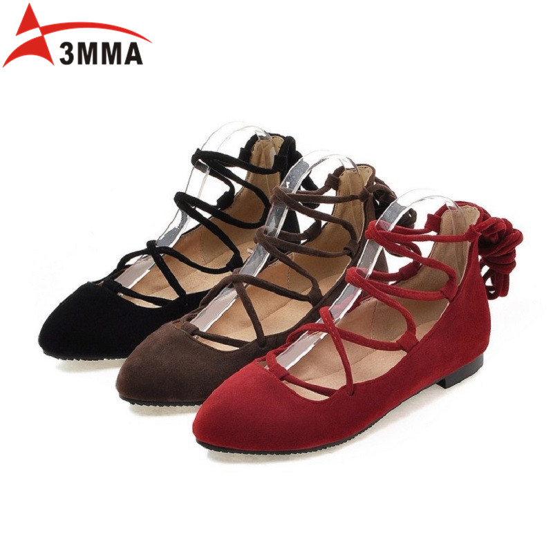 3MMA Spring Autumn Ladies Shoes Ballet Flats Women Flat Shoes Woman Ballerinas Lace Up Pointed Toe Ribbons Casual Loafers Shoes 2017 spring summer new women casual pointed toe loafers flats ballet ballerina flat shoes plus size 34 43