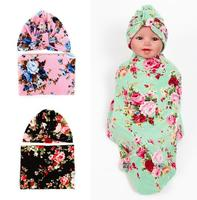Baby Swaddle Blanket Set With Knot Top India Hat Newborn Shower Gift Flower Parrern Hospital Cap