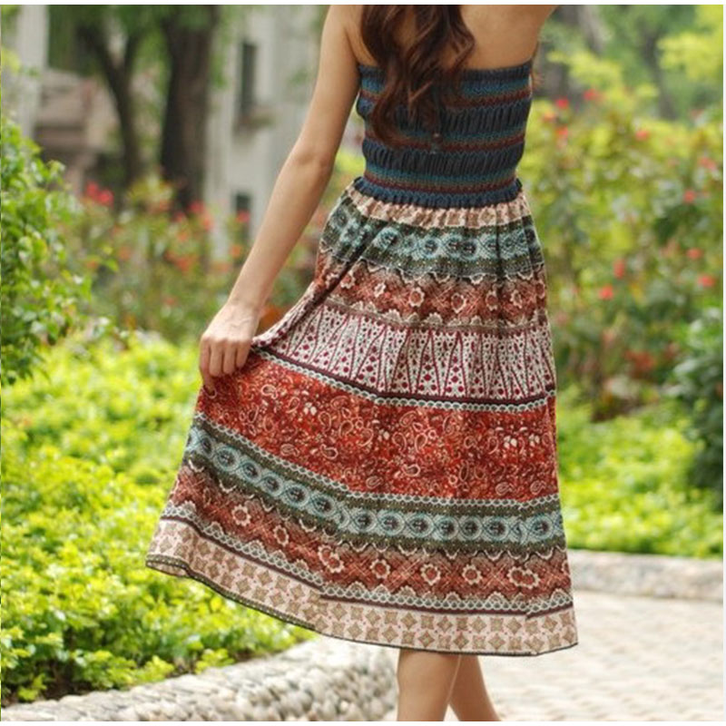 HTB1i1HrlDZmx1VjSZFGq6yx2XXaw - Boho Floral A-line Women's Maxi Skirt Elastic High Waist Sashes Vintage Pleated Womens Skirts Summer Fashion Clothes Female