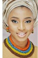 Fashionable African Beads Jewelry Sets Colorful Crystal Beads Jewelry Set Handmade Nigerian Wedding Necklace Jewelry Set AMJ547