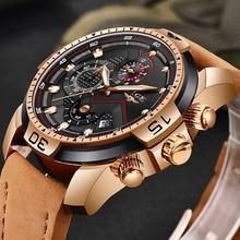 LIGE montre bracelet en cuir pour hommes, de marque supérieure de luxe, militaire, de sport, étanche, analogique à Quartz