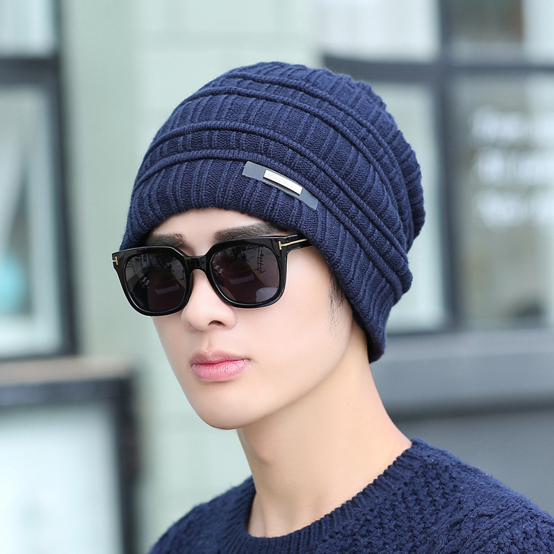 Men's Skullies Winter Wool Knitted Hat Male Brand Beanies Cap Casual Solid Color Sets Headgear Hats For Men wool skullies cap hat 10pcs lot 2289