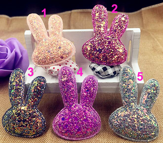 sew on Glitter felt patches for clothes 6.2x4.2cm Rabbit head padded applique 20pcs scrapbooking accessories