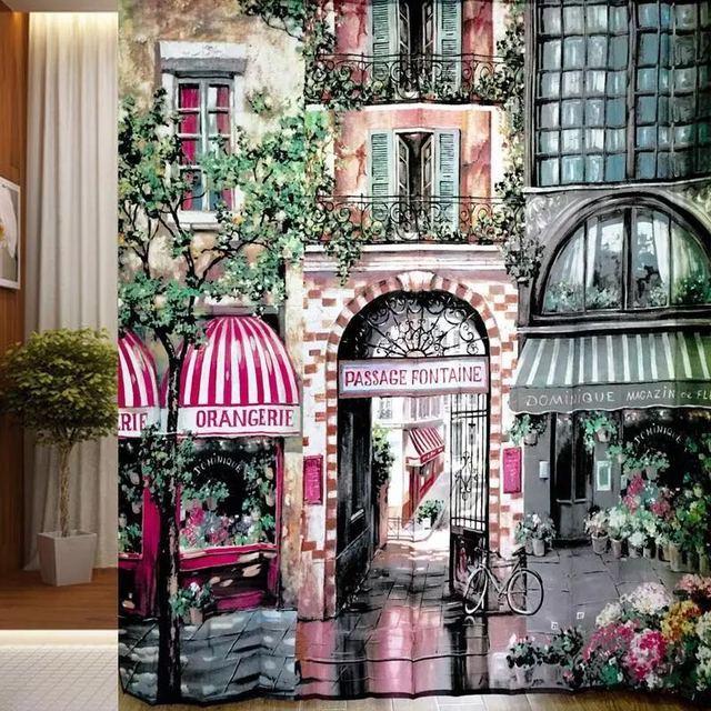 European Style Waterproof Shower Curtain Continental Garden Cafe Paris Street Painting Window Screen Living Room Door