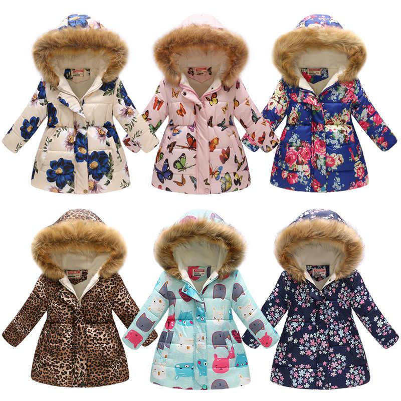 6ce1ebc773a7 Winter Girls Long Cartoon Printing Warm Cotton Jackets Children Big Fur  Collar Snow Coats Kids Outdoor