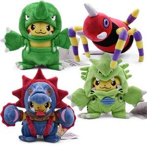 4 estilos 18-20 cm pikachu cosplay hydreigon & tyranitar brinquedo de pelúcia ariados migalos peluche boneca de animais de pelúcia frete grátis