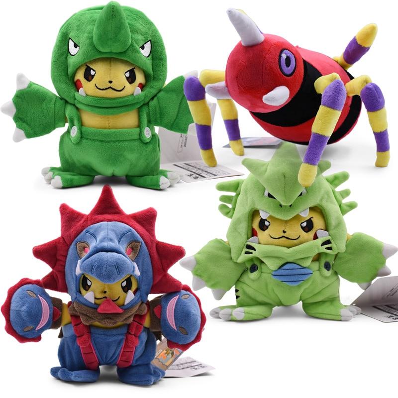 4Styles 18-20CM Pikachu Cosplay Hydreigon&Tyranitar Plush Toy Ariados Migalos Peluche Stuffed Animal Doll Free Shipping
