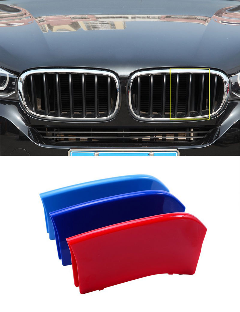 3pcs Front Grill Strip Cover Trim ABS Sequins For BMW X5 f15 14-16 X6 F16 2015 2016 Car Accessories f15 f16 kidney gloss black abs plastic original style front racing grill grille for 2014 2015 2016 bmw f16 x6 bmw f15 x5