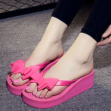 f3a925c4e7cbb1 High Heels Women Flip Flops Summer Sandals Platform Wedges Slippers EVA Bow  Fashion Beach Shoes Woman
