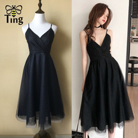 Tingfly Vintage Elegant Black Swan A Line Dress Women Midi Long Mesh Dresses Casual Deep V Neck Vestidos de fiesta Plus size