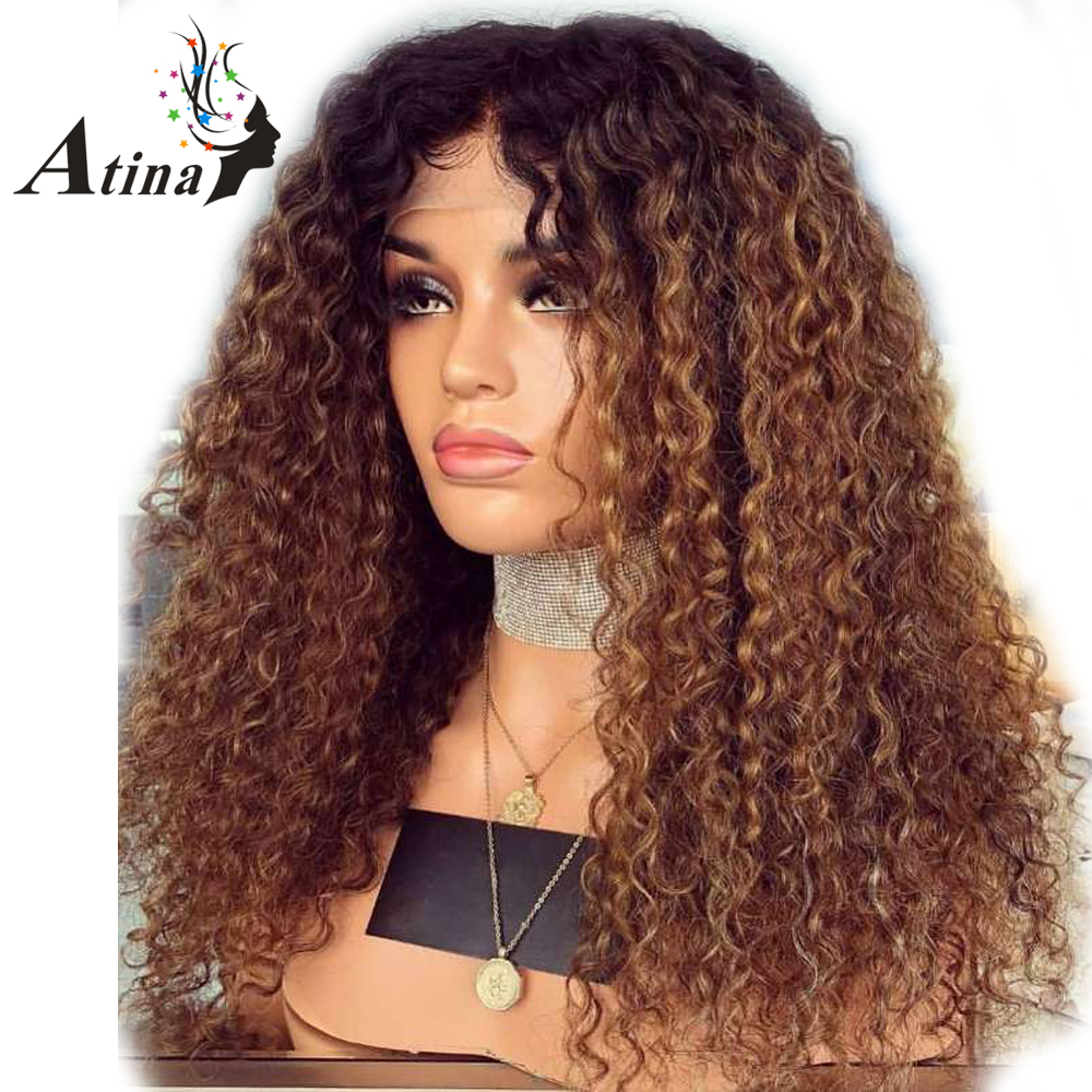 13x6 Deep Part 250% Density Kinky Curly Ombre Human Hair Lace Front Wigs Preplucked 1b/27 Honey Blonde Remy Hair Indian Atina Mild And Mellow Lace Wigs