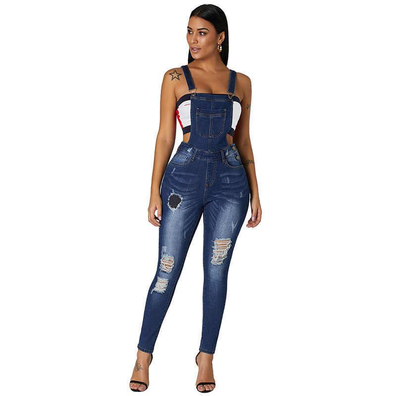 SEBOWEL джинсовые комбинезоны женские зимние комбинезоны осенние женские потертые джинсовые комбинезоны для дам комбинезон новый стиль нагрудник
