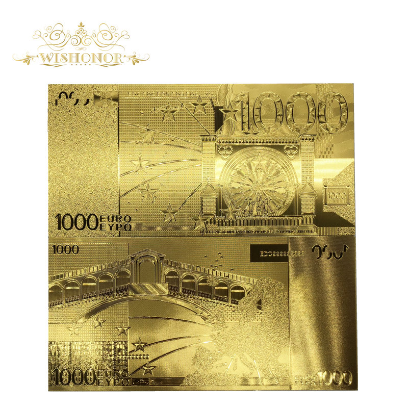 10pcs/lot Beautiful Gifts For <font><b>Euro</b></font> <font><b>Banknotes</b></font> <font><b>1000</b></font> EUR Gold <font><b>Banknotes</b></font> in 24k Gold Plated Paper Money For Home Decoration image
