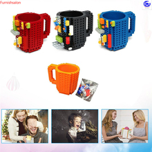 1PC 12oz Build-On Brick Building Mug Type Block Coffee water Cup DIY Puzzle Portable Drinkware Drinking 6 Colors 300~400ml