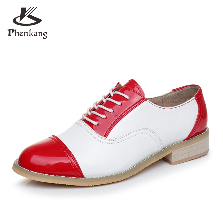 ФОТО 2017 woman vintage oxford shoes round toe genuine leather US 9.5 handmade lace up brown black white oxford shoes for women