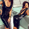 Sexy Short Black Sequin Cocktail Dress Beading Backless Shinning Womens Evening Party Gowns vestidos de renda Fast Shipping