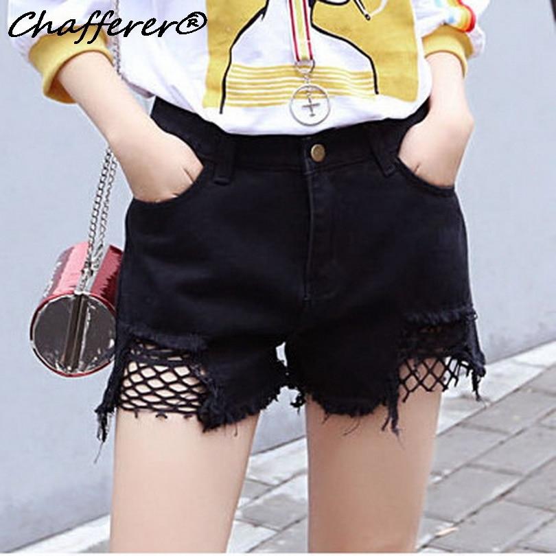 Chafferer 2017 Worn Grid Stitching Denim Shorts Fish Net Jeans Pants Big Rough Selvage Hole High Waist Hot Frayed Ragged Cutoffs denim zipper hollow worn stiletto womens sandals