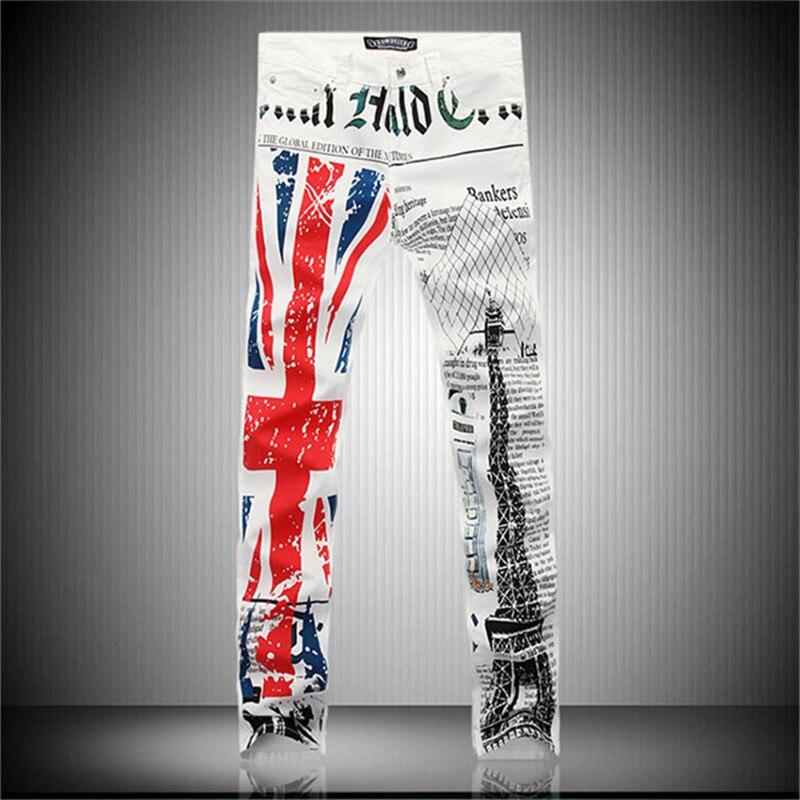 2016 new fashion casual white jeans male British flag Eiffel Tower in Paris fashion printed men