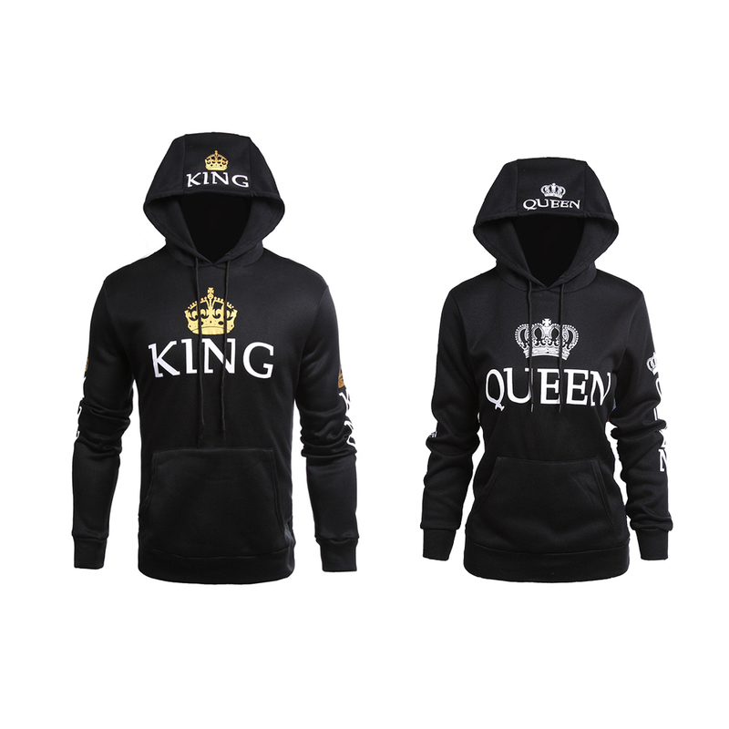 Sweatshirt for Couple Lovers KING Queen Hoodies Crown Print Unisex Men Women Spring Hoodies Slim Winter Letter Hooded Pullovers ...