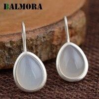 BALMORA Water Drop Earrings Authentic 990 Pure Silver Retro Elegant White Drop Earrings For Women Lover