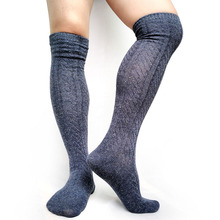Thick Knit Men Stocking Boot Socks Over the Knees Sexy Warm Winter Long for Male Striepd Formal Business Hose