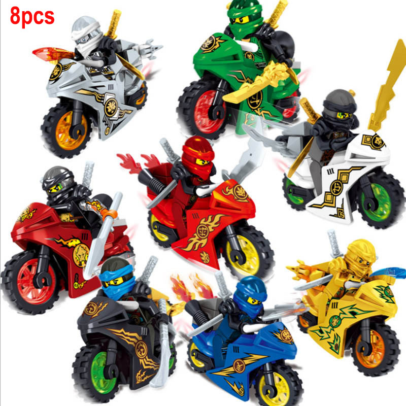 8pcs/lot Ninja Motorcycle Building Blocks Bricks Toys Compatible Legoinglys Ninjagoed Ninja For Kids Gifts