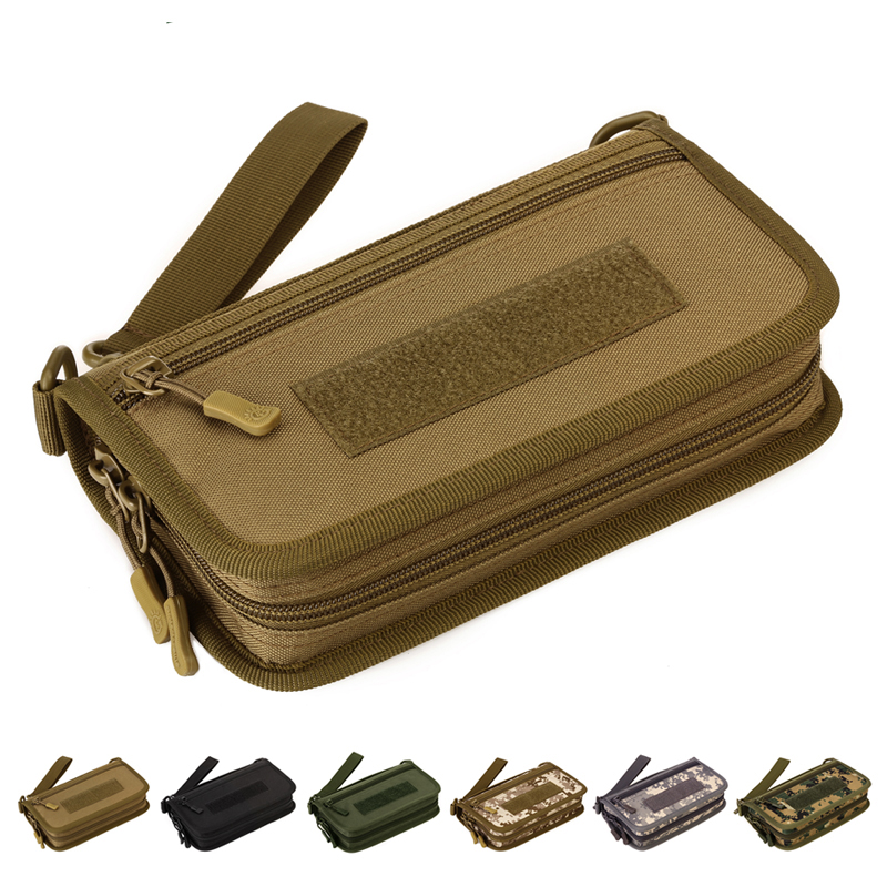 New Men Cell/Mobile Phone Handy Purse Wallet Pouch Credit Card Holder Case Durable Male Military Assault Nylon Clutch Wrist Bag
