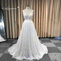 Leeymon2020 Custom Made Sexy Charming A Line Applique Lace Wedding Dress Backless Bridal Dress Ivory