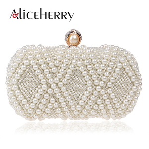 Bolso de mano de noche blanco con perlas de cristal de lujo para mujer, elegante vestido para banquete, bolso de marca para fiesta de boda, bolso para mujer