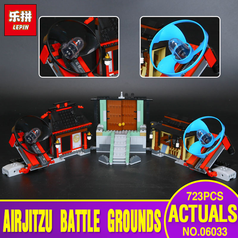 New LEPIN 06033 723Pcs Airjitzu Battle Grounds Model Building Kits Blocks Brick Toy Compatible With 70590 Children Model Gifts lepin 22001 pirate ship imperial warships model building kits blocks 1717pcs brick toy compatible with lepin 10210