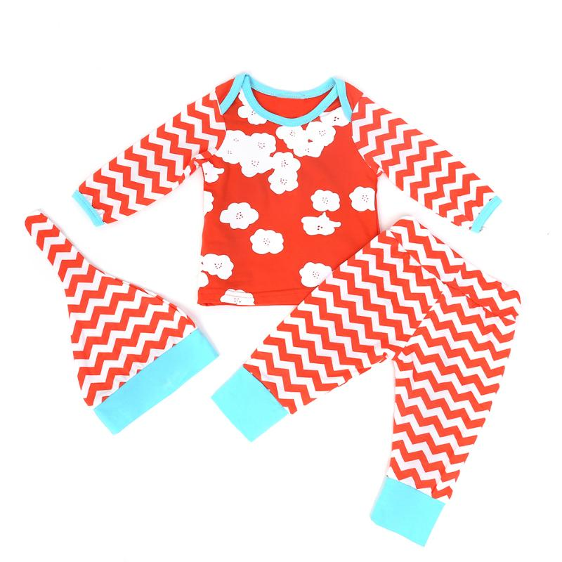 3pcs Newborn Orange Striped Outfits Kids Baby T-Shirt+Long Pants+Hat Clothes Set Autumn Winter Baby Boys Girls Clothing