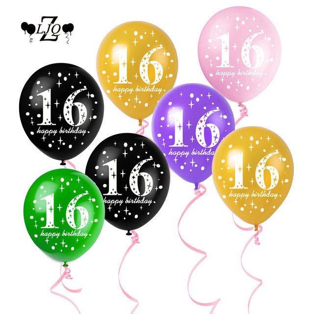 ZLJQ 5pcs 16th Birthday 12inch Latex Balloons Party Decorations Balloon Anniversary Happy Age 16 Year Old