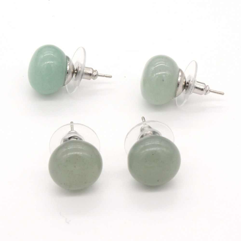 xinshangmie 1 Pair Silver Plated Natural Stone Green Aventurine Earrings Bread Shape Ear Studs Fashion Women Charms Jewelry