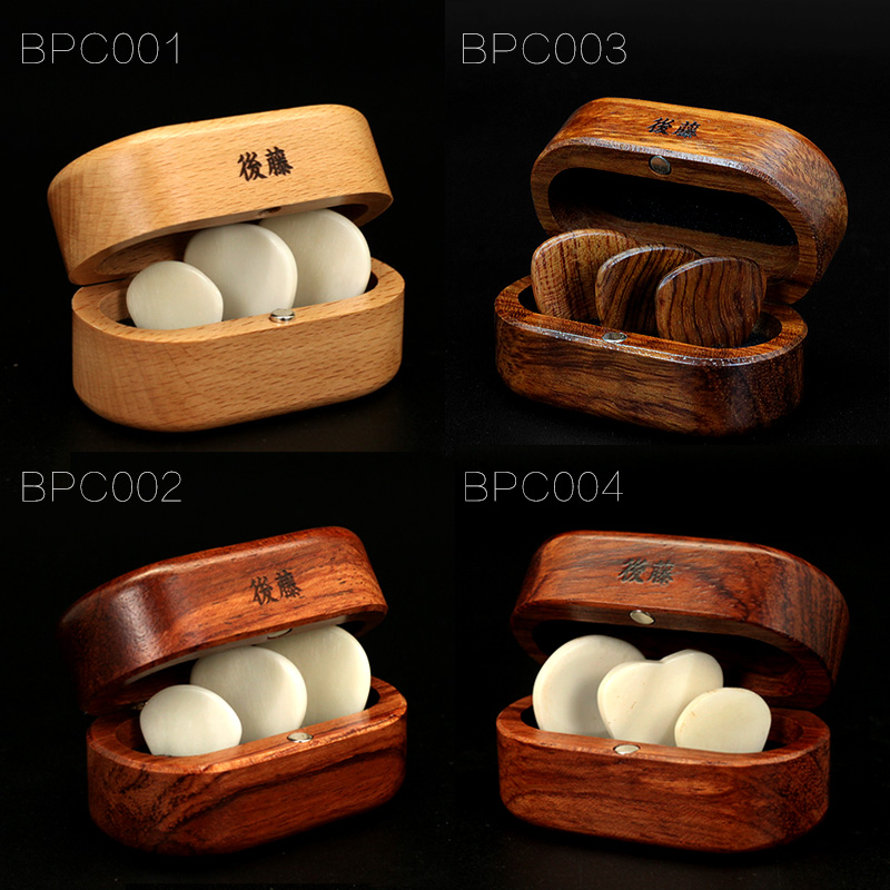 QCYQ Guitar Picks Handmade Out of Genuine Cow Bone with Wooden Box Gift Set, 3 Pieces of Guitar Pick 3pcs set finger thumb guitar picks giutar plectrums celluloid material guitar parts