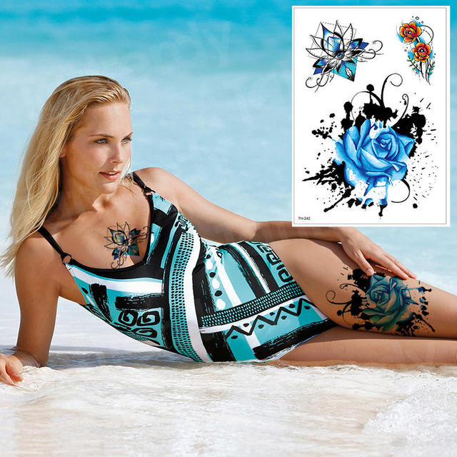 waterproof tattoo stickers bikini peony tattoo & body art flower rose tattoo fake water transfer tattoo temporary tatoo leg arm 4