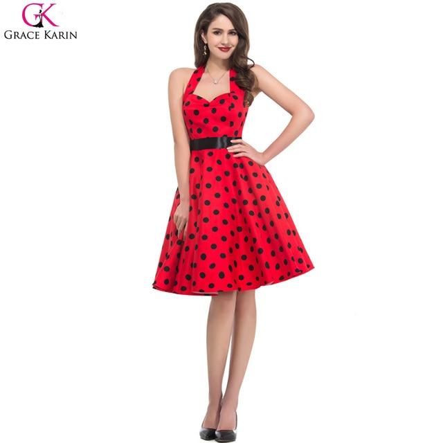Grace Karin Short Cotton Women Retro 50s Vintage Rockabilly Swing Pinup Casual Polka Dot Dress Summer