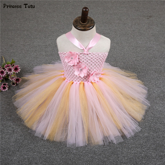 e5f7499225106 Cute Baby Girl Tutu Dress for Toddler Girls Wedding Party 1 Year Birthday  Dress Yellow Pink Flower Infant Baby Princess Dress