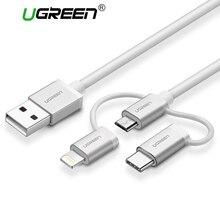 Ugreen 3 в 1 Lightning USB кабель для iPhone 6 7 5 Micro USB кабель быстрой зарядки Тип USB C для android мобильного телефона кабель