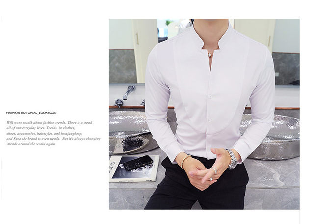 Fall Winter Stand Collar Mens Long-sleeved Dress Shirts Black Red White Slim Elegant Youth Male Business Wedding Formal Shirt 15