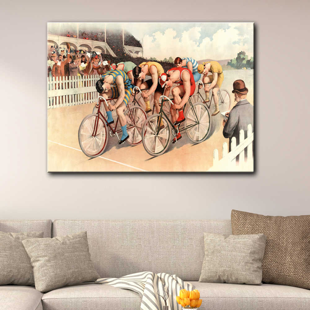 Retro bicycle sport cycle racing Vehicle wall picture artwork canvas painting art HD printed poster wood frame plaque decorative