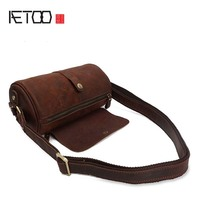AETOO New vintag Leather Shoulder Bags Genuine Leather Men bucket Bag High Quality Retro Crazy Horse Small Messenger Bag For Man