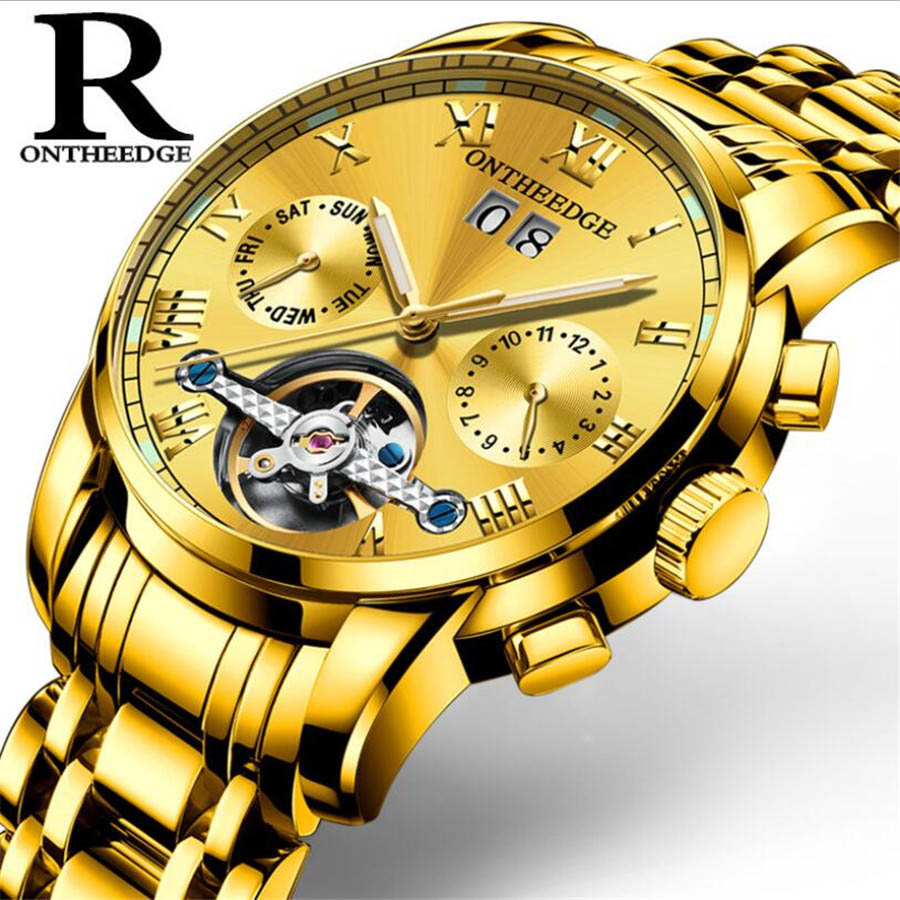 Tourbillon mechanical Men Gold Watch Stainless Steel Army Military Sport Watches Automatic Golden Clock Men Relogio Masculino winner automatic mechanical watches men s gold luxury steel wrist watch men 2018 military sport skeleton military army clock